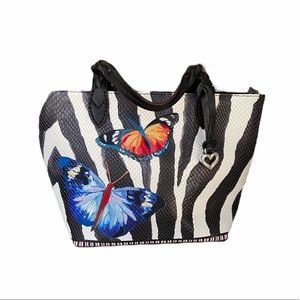 Brighton embroidered butterfly zebra leather tote